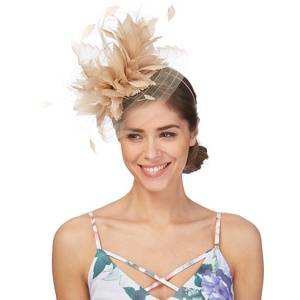 Principles by Ben de Lisi Natural large feather fascinator