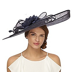 Principles by Ben de Lisi - Navy feather floral saucer fascinator