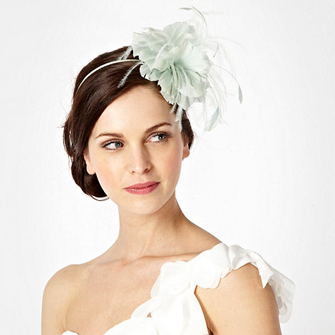 Debut - Pale green triple feather flower headband