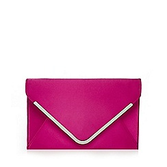 Star by Julien Macdonald - Dark pink satin envelope clutch bag