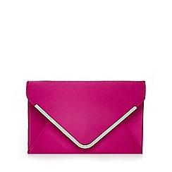 Star by Julien Macdonald - Dark pink satin envelope clutch bag