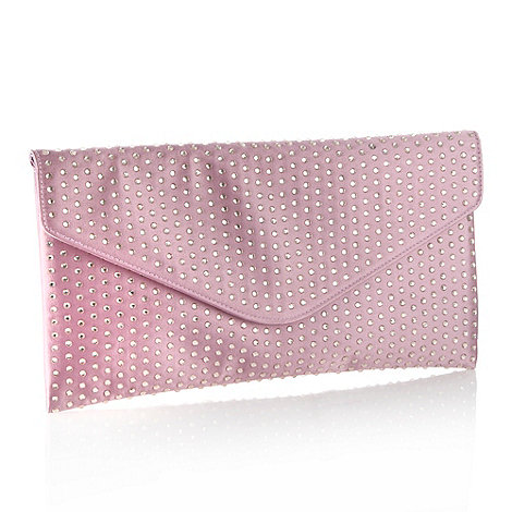 No. 1 Jenny Packham - Designer mauve diamante embellished satin clutch bag