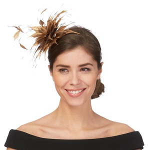 Star by Julien Macdonald Gold feather fascinator
