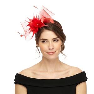 Star by Julien Macdonald Red feather mesh headband fascinator