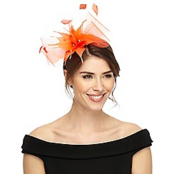 Star by Julien Macdonald - Orange feather mesh headband fascinator