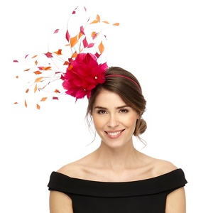 Star by Julien Macdonald Pink two tone feather fascinator