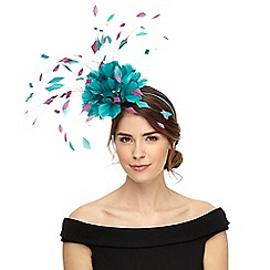 Star by Julien Macdonald - Turquoise two tone feather fascinator