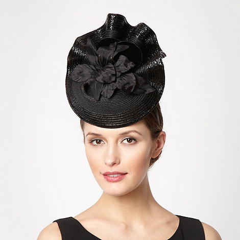 Top Hat by Stephen Jones - Black ruffled floral fascinator