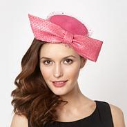 Designer bright pink bow gem veil headband