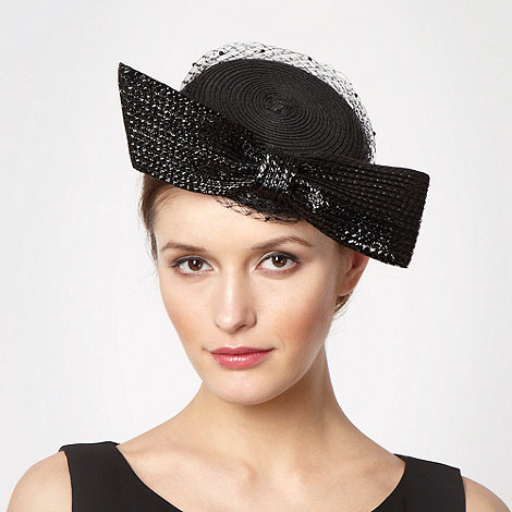 Top Hat by Stephen Jones - Designer black bow gem veil headband