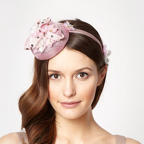 Top Hat by Stephen Jones - Designer pale pink ribbon stud button fascinator