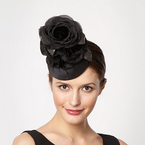Top Hat by Stephen Jones - Designer black silk petal flower button headband