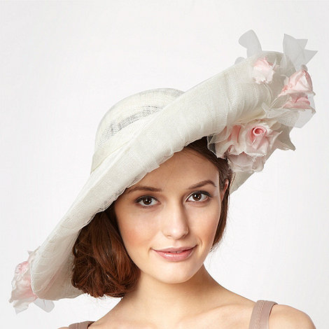 Top Hat by Stephen Jones - Designer cream climbing roses saucer fascinator