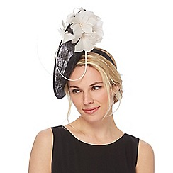 J by Jasper Conran - Black floral disc fascinator