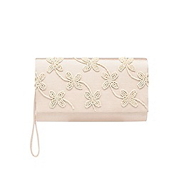 Debut - Pink floral bead embellished clutch bag