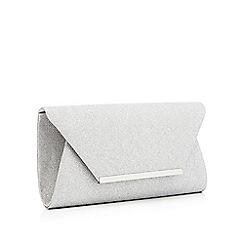 Debut - Silver glitter envelope clutch bag