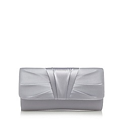 Debut - Silver ruched pleat clutch bag