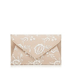 Debut - Natural floral lace envelope clutch bag