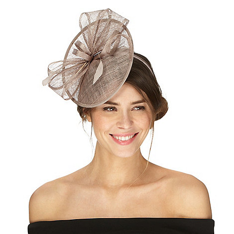 Debut - Taupe bow saucer fascinator