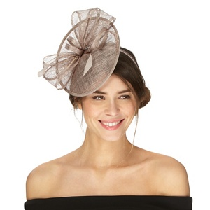 Debut Taupe bow saucer fascinator