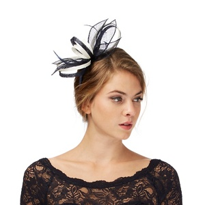 Debut Navy and ivory feather fascinator