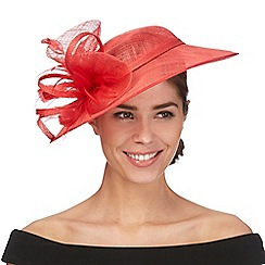 Debut - Red flower feather saucer headband