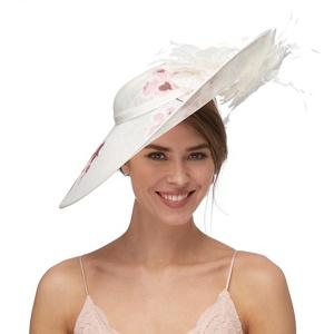 Debut White Oriental Floral Saucer Hat