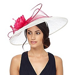Debut - White large bow saucer fascinator