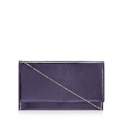 Debut - Navy metallic flapover clutch bag