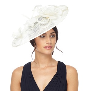 Hatbox Ivory floral feather fascinator