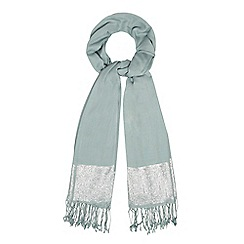 Debut - Pale green metallic jacquard pashmina