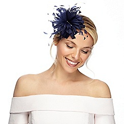 Debut - Navy curled feather fascinator