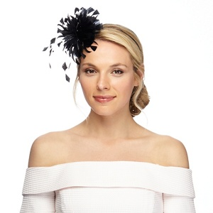 Debut Black curled feather fascinator