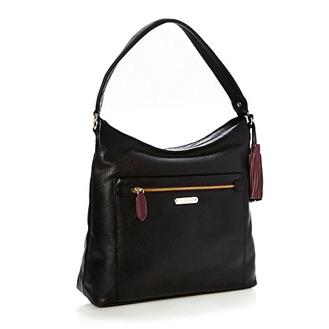 J by Jasper Conran - Designer black grained leather shoulder bag