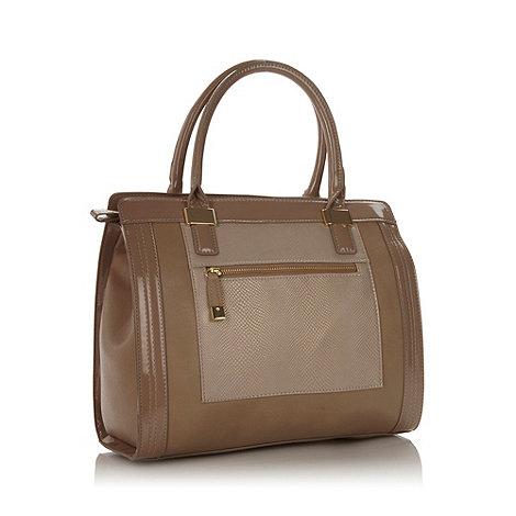 J by Jasper Conran - Designer beige faux snakeskin panelled tote bag