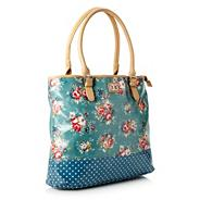 Turquoise floral coated canvas shopper bag
