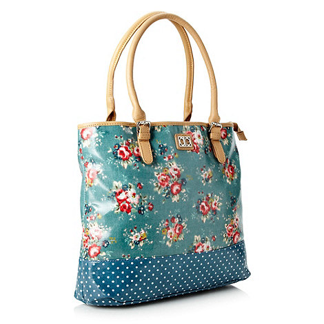 The Collection - Turquoise floral coated canvas shopper bag