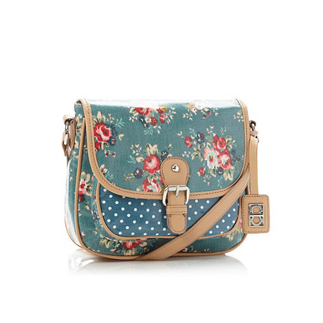The Collection - Turquoise floral coated canvas across-body bag