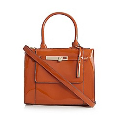 J by Jasper Conran - Orange patent small grab bag