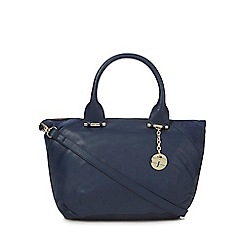 J by Jasper Conran - Navy leather contrasting edge bowler bag