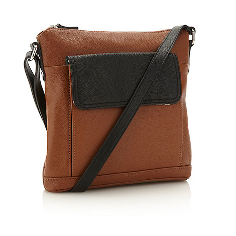 The Collection - Tan colour block cross body bag