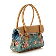 Turquoise floral coated canvas music bag