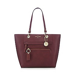 J by Jasper Conran - Dark red front zip detail tote bag