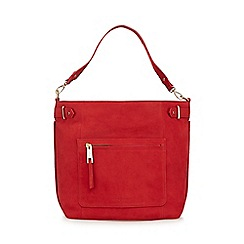 J by Jasper Conran - Red nubuck zip detail shoulder bag