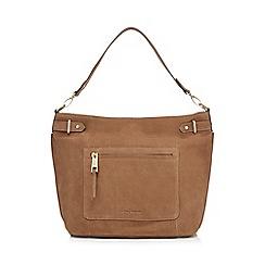 J by Jasper Conran - Taupe zip detail shoulder bag