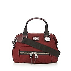 J by Jasper Conran - Dark red zip detail bowler bag