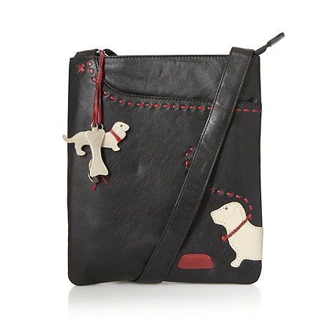 The Collection - Black leather applique dog cross body bag