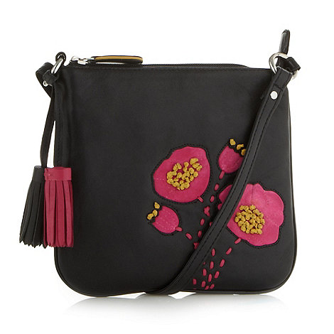 The Collection - Black leather applique poppy cross body bag