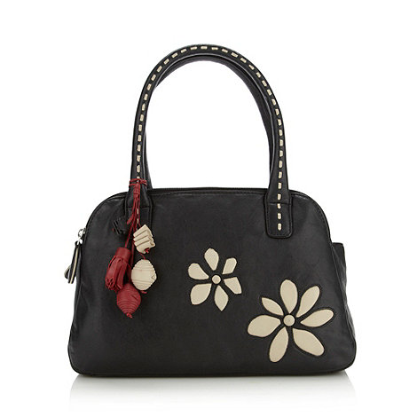 The Collection - Black leather flower handheld bag