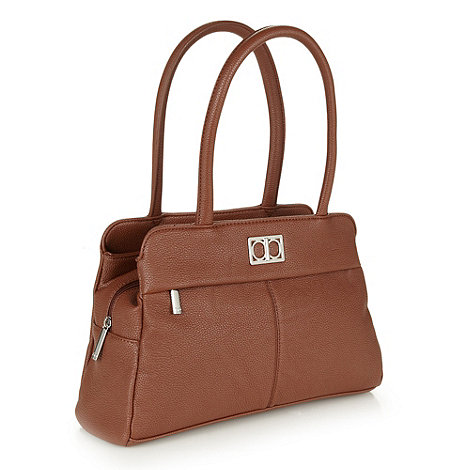 The Collection - Tan grained three section handbag